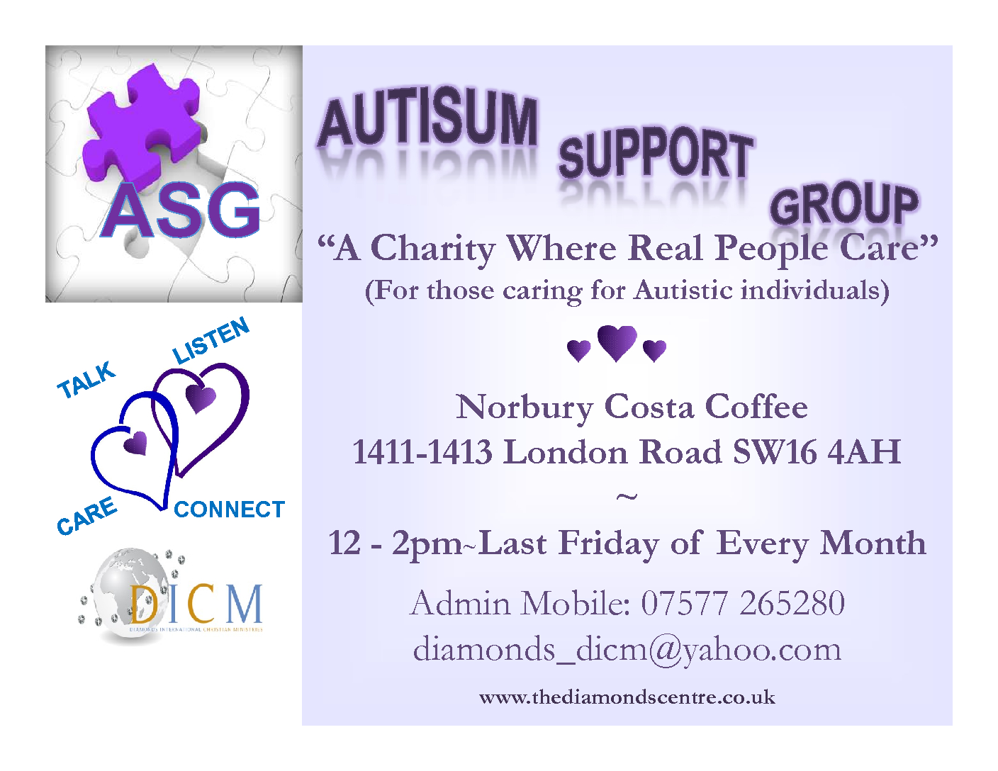 ASG Autistic Support Group – The Diamonds Centre